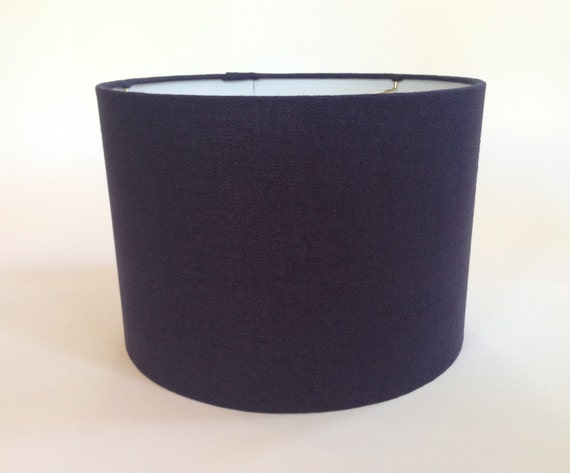 drum lamp shade in navy blue linen fabric. Black Bedroom Furniture Sets. Home Design Ideas