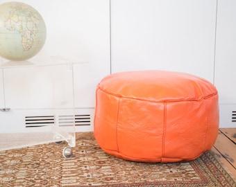 Antique Revival Leather Moroccan Pouf Ottoman - Tangerine Orange