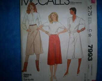 McCalls 7993 Size Miss 14-16-16 Skirts.