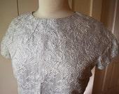 Silver Dress Space Age Shiny Brocade Shift Dress 1960s