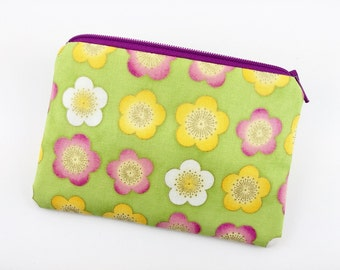 Flowers Zipper Coin Purse, Small Gadget Case, Card Wallet, Accessory Pouch, Green, Padded, Gift idea