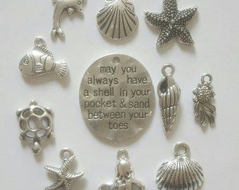 11pcs Beach Sea Theme Tibetan Silver Charms pendants for jewellery making. Shells, Starfish, Turtle, Fish, Dolphin, Sand Quote Tag