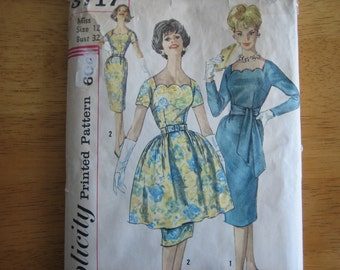 Simplicity Pattern 3717 Misses' One-Piece Dress with Detachable Overskirt and Belts    1960's
