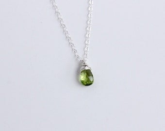 Peridot Necklace, August Birthstone Jewelry, Green wire wrapped necklace