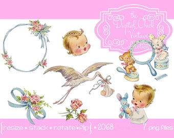 Digital Clipart, instant download, Vintage Little Girl Boy Clipart, ribbons, roses, mirror, stork   PNG files  2068