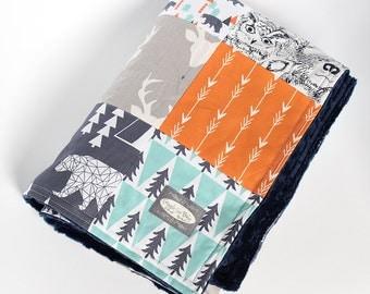 Woodlands Patchwork Blanket - Orange, Navy and Mint Baby Blanket - Bear and Deer Blanket