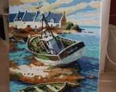 SALE 20 % off Brittany fishing coast scene tapestry needlepoint wool