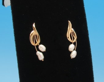 14K Gold and Natural Pearl Stud Earrings by JCM