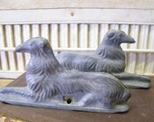 Vintage Pair Russian Wolfhound Dog Garden Gate Fence Topper Finials Salvage Art Repurpose