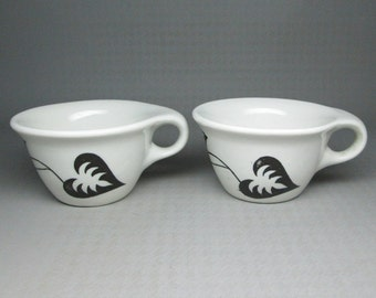 Russel Wright Sterling 2 cups with a decoration black and white leaves