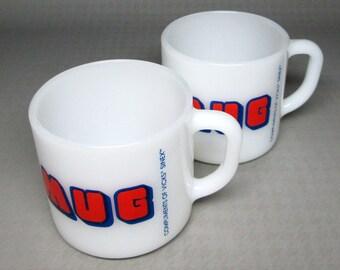 2 mugs from Vicks Sinex  MUG  red and blue Federal Glass   USA