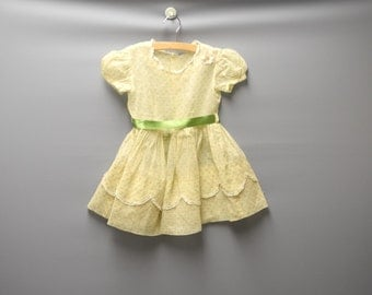 Vintage Baby Clothes, 1950's Handmade Light Yellow and Green Organdy Baby Girl Dress, Vintage Baby Dress, Yellow Baby Dress, Size 2T