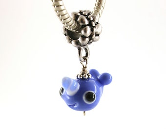 Narwhal charm , Narwhal pendant , Narwal necklace , Glass lampwork big hole bead or BHB bead , charms bracelet ,european bracelet , jewelry