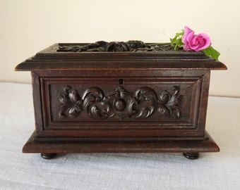 French Antique Black Forest Wood Wooden Box Carved Jewellery Casket Box