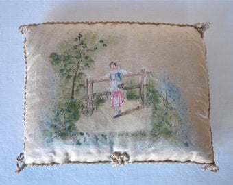 french antique Silk Needle Holder or Protects Book 1910 - French Romantic Home - french Home Decor Young Lady