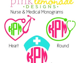 Nurse Monogram Decal, Medical Monogram Vinyl Decal