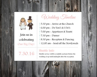 Bride and Groom 100 Personalized and Printed Timelines. Wedding Invitations Inserts.  Ceremony Reception Schedule.