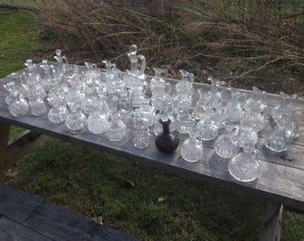 61 Antique cruets  1800s-1900s EAPG crystal Cruet/decanter/potion bottle/perfume bottle/vinegar and oil Cruet/ruby cut to clear LOT
