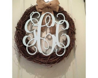 32 Inch Connected Vine Script Wood Monogram Letters - Perfect for hanging on a wall or added to a wreath and hanging on your front door.