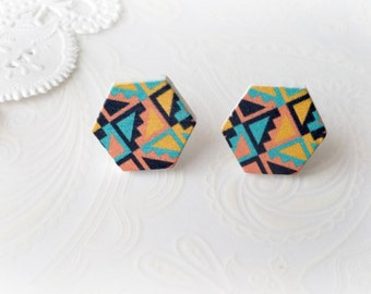 Wooden Aztec Hexagon Stud Earrings
