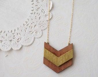 Wooden Chevron Arrow Necklace