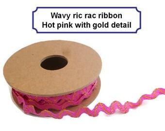 Wavy ric rac trim pink gold ribbon rick rack zig zag trimmings haberdashery craft ribbon