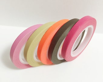 Washi Tape Set of 5 Skinny Solid Color Washi Tape 11 yards 10 meters 5mm Each Light Pink Beige Neon Orange Brown Dark Pink