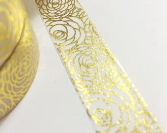 Bright Shiny Metallic Gold Foil Roses Washi Tape 11 yards 10 meters 15mm