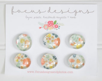 6 Glass Magnets - Rare Earth Magnets - Floral Magnets - Office - Decorative Magnets- Fridge Magnets- Spring Magnets