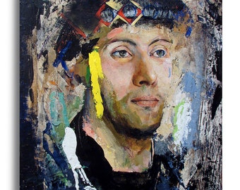 Original Figure Painting oil on wood panel - Head121 - 11 x 14 inches