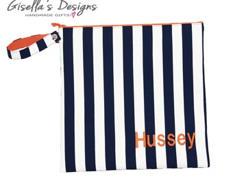 Navy and orange Personalized Wet Bag,  Reusable Dirty Bag, Clean Bag, Waterproof Swim Bag,