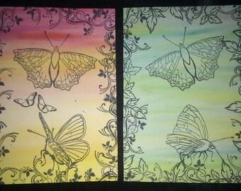 Rainbow Sky Butterfly Cards, Custom made
