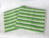 Pillowcases, Pair (2) of vintage sheet pillowcases - green and white stripes