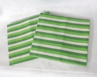 Pair (2) of vintage sheet pillowcases - green and white stripes