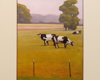 Hawkins Impressionist American Western Folk Art  Cows Green & Gold Craftsman matted Giclee print on archival 100# heavy stock Gift Sale