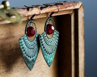 Patina Bohemian Earrings Ruby Red Verdigris Boho Earrings Art Deco Dangle Earrings Rustic Drop Earrings Turquoise Tribal Boho Jewelry - E308
