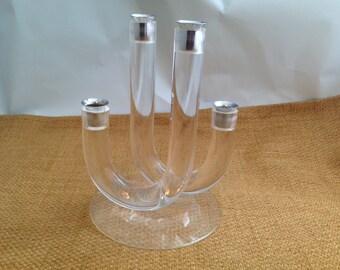 Vintage Mid Century Modern Lucite Acrylic Chrome Candle Holder Candlestick Candleholder