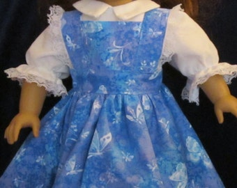"Blue Butterfly Print Pinafore, Headband and Blouse Fits American Girl Dolls or Similar 18"" Dolls"