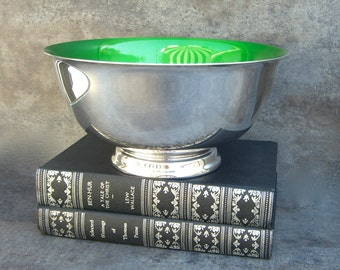 Footed Silver Plate Bowl, Green Enamel, Reed and Barton 104, Silverplate Serving Piece, Pedestal