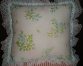 Upcycled Vintage Blue Pansy Tea Pillow