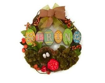 Grapevine Handmade Wreath, Bird Nest, Rustic Grapevine Door Wreath, Home Decor, Hydrangea Wreath, Berry Wreath, Silk Floral Arrangement