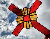 Stained Glass Cross Red and Amber