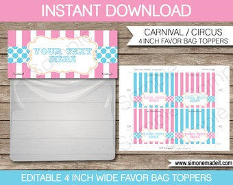 Circus Bag Toppers - Carnival or Circus Favor Bag Toppers - 4 inches wide - INSTANT DOWNLOAD with EDITABLE text - you personalize at home