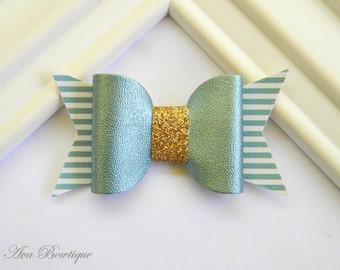 Aqua Bow Hair Clip - Bow Hair Clip - Glitter Bow Hair Clip - Aqua Bow Clippie  - Girls Bow Hair Clip