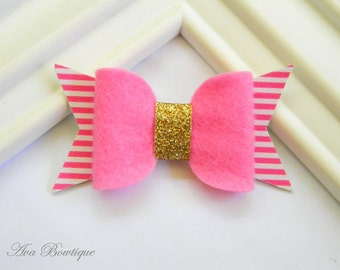 Hot Pink Bow Hair Clip - Bow Hair Clip - Glitter Bow Hair Clip - Pink Bow Clippie  - Girls Bow Hair Clip - Baby Faux Leather Bow