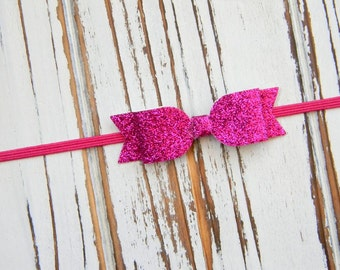 Fuschia Glitter Bow Headband, Infant Headband, Baby Headband, Bow Headband, Fuschia Glitter Headband