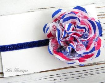 4th of July Headband - Lace Chiffon Headband - 4th of July Baby Headband - July 4th Headband