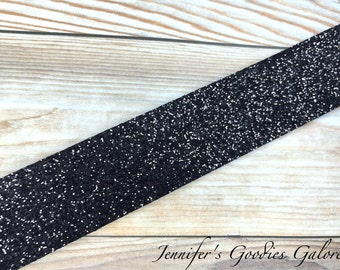 Nylon BLACK Glitter Ribbon, Metallic Ribbon, 7/8-inch, Shimmer and Sparkle Ribbon, Dazzle Ribbon, Hair Bow Supply