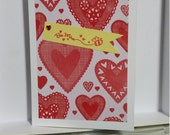 Valentine's Day card, Bee mine, red hearts, sweetheart, for anyone,