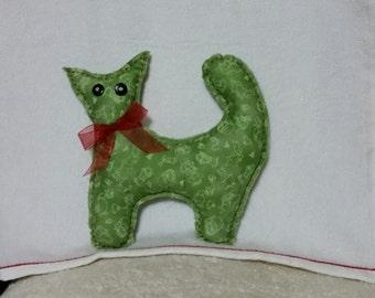 Stuffed handmade kitty doll, fabric stuffed kitty, cute stuffed kitty, kitty doll, green kitty, nursery gift idea